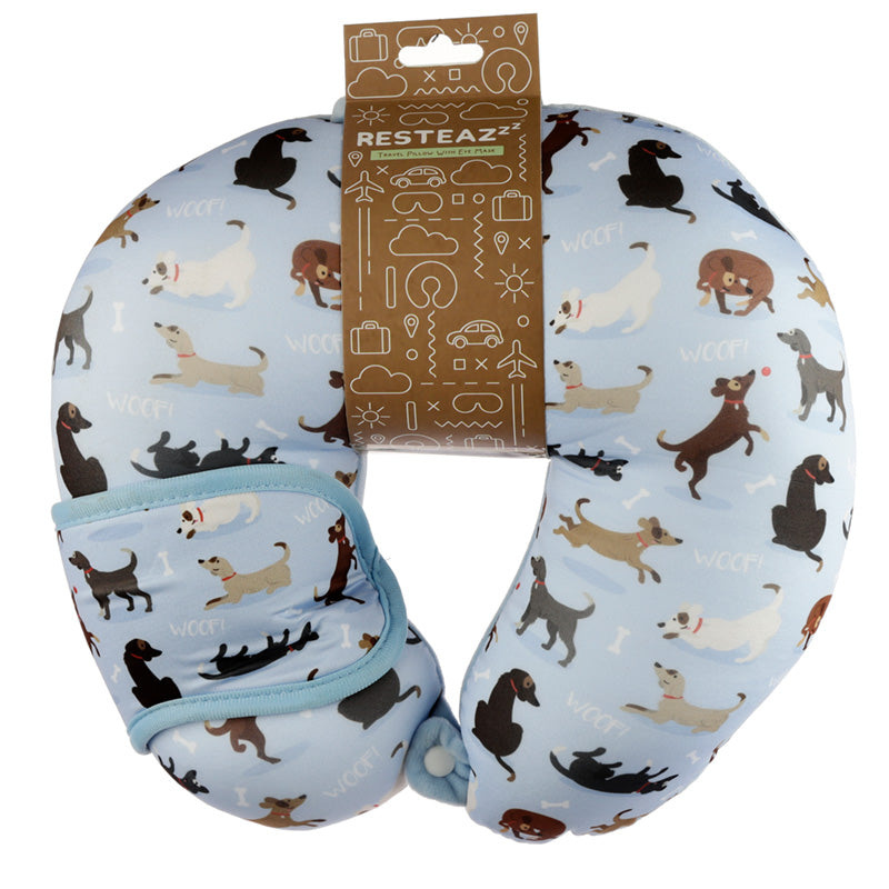 Catch Patch Dog Relaxeazzz Travel Pillow & Eye Mask Set, Sleeping Aids by Low Cost Gifts