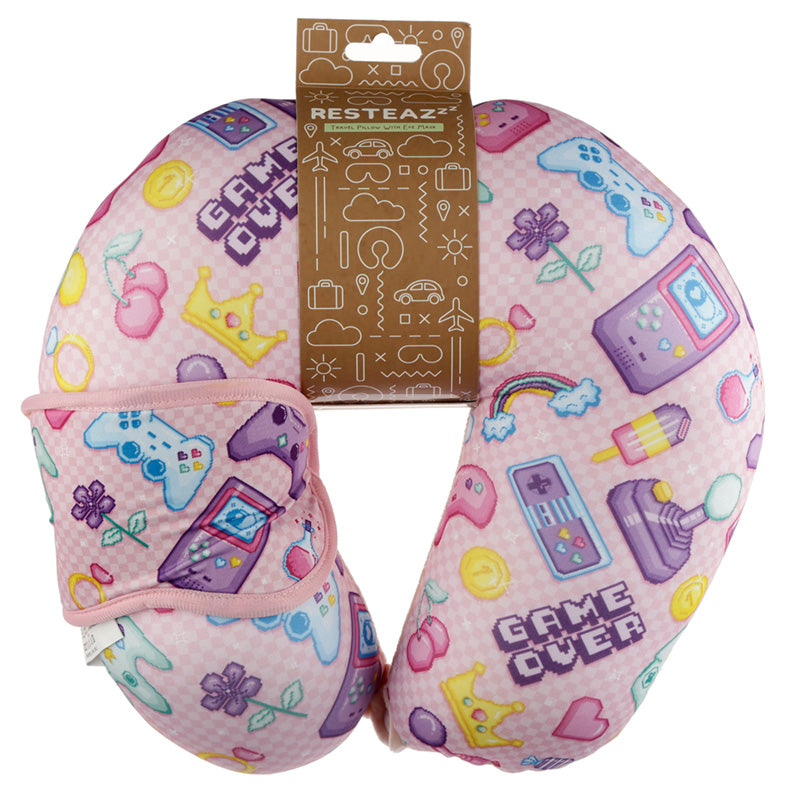 Retro Gaming Next Gen Relaxeazzz Travel Pillow & Eye Mask Set, Sleeping Aids by Low Cost Gifts