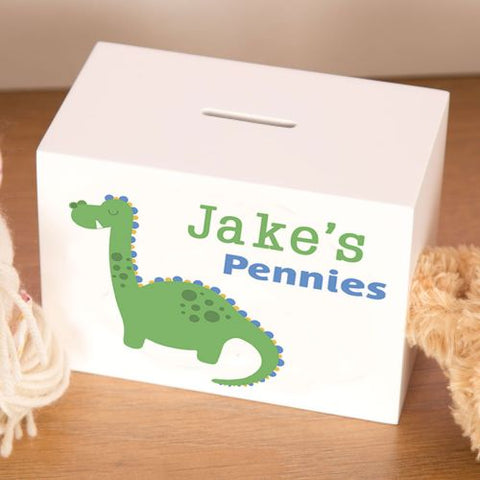 Little Boys Personalised Dinosaur Wooden Moneybox