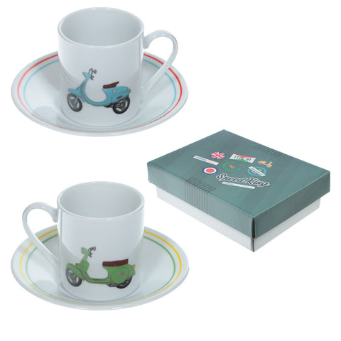Set of 2 Espresso Cup and Saucer - Scooter | ShaneToddGifts.co.uk
