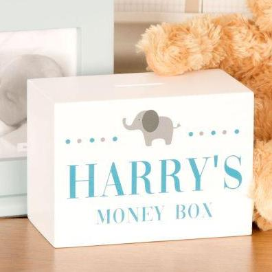 Baby Boys Elephant Design Personalised Wooden Money Box
