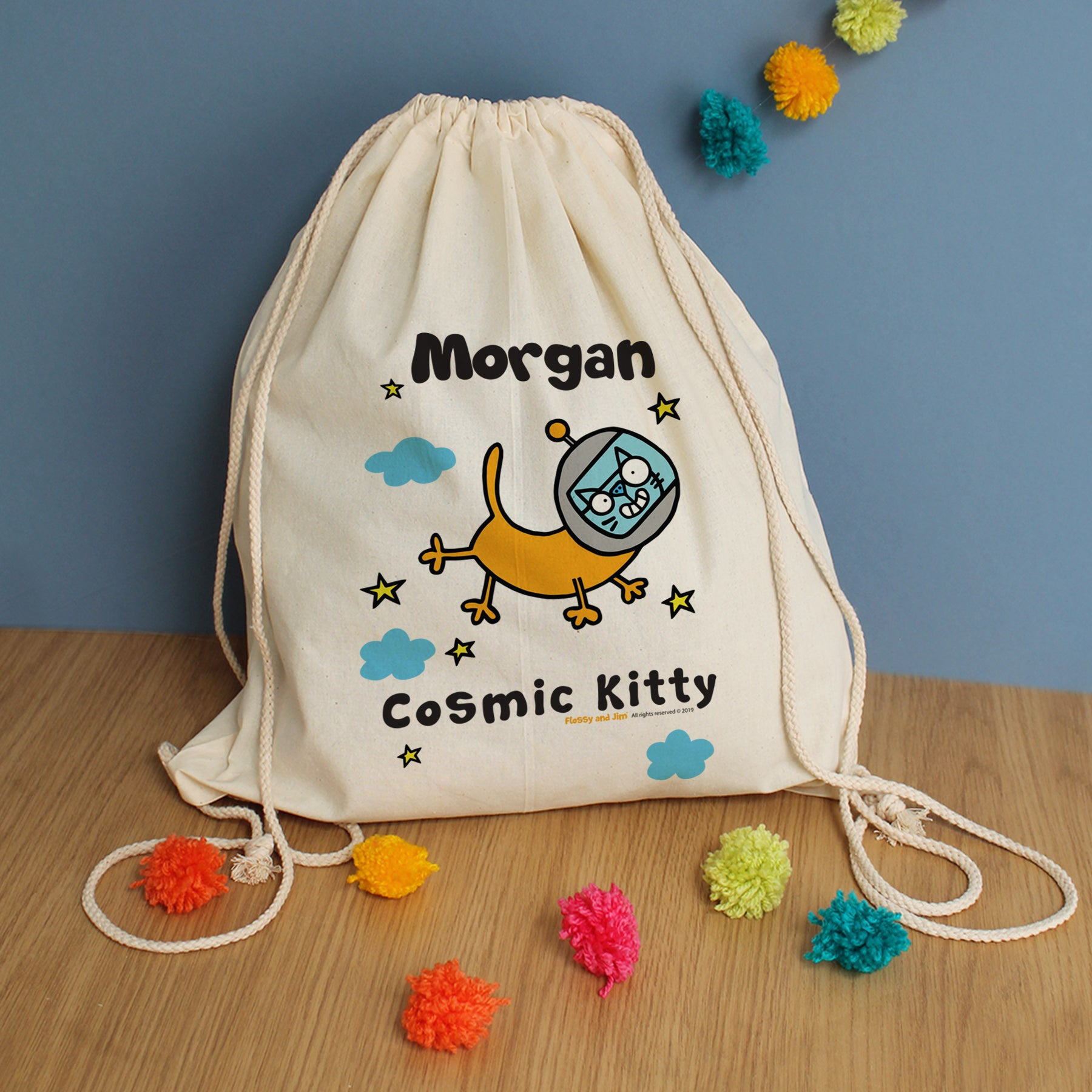 Cosmic Kitty Drawstring Bag, Luggage & Bags by Gifts24-7