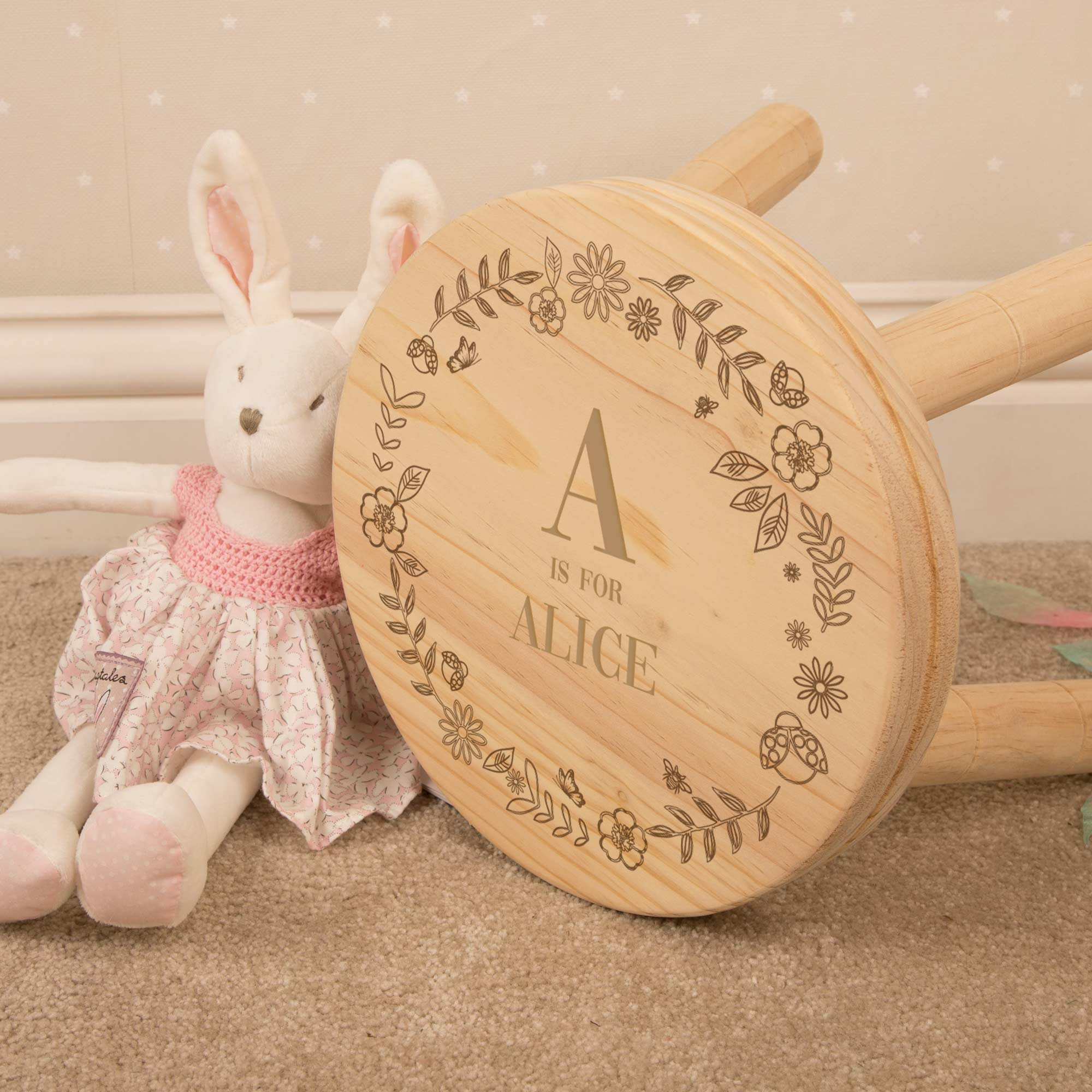 Personalised Girl Alphabet Wooden Stool., Furniture by Low Cost Gifts