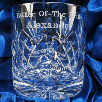 Lead Crystal Engraved Crystal Father of the Bride Whisky Glass, Whisky by Low Cost Gifts