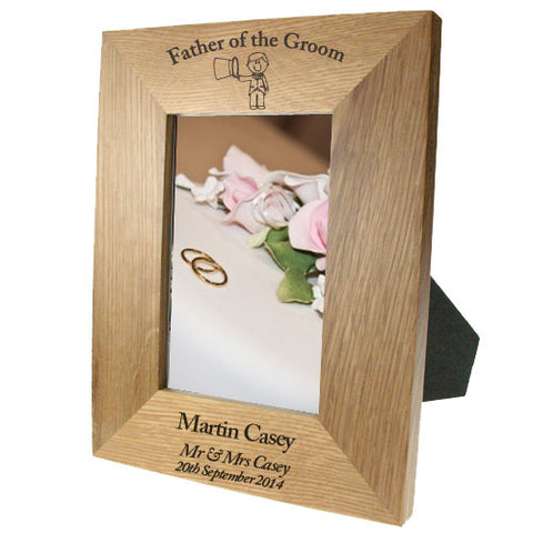 Portrait Wooden Oak 4x6 Frame: Father of the Groom