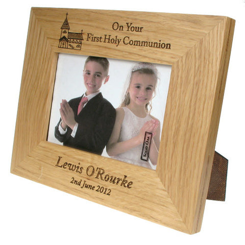 Solid Oak First Communion Frame: Church Design | ShaneToddGifts.co.uk