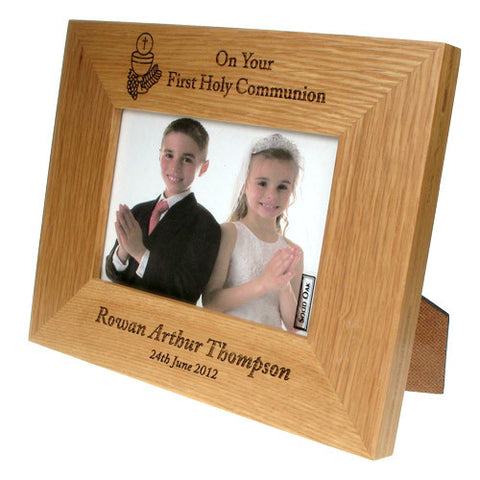 Solid Oak First Communion Frame: Eucharist Design | ShaneToddGifts.co.uk