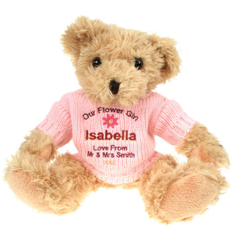 Personalised Teddy Bear for a Flowergirl - Shane Todd Gifts UK