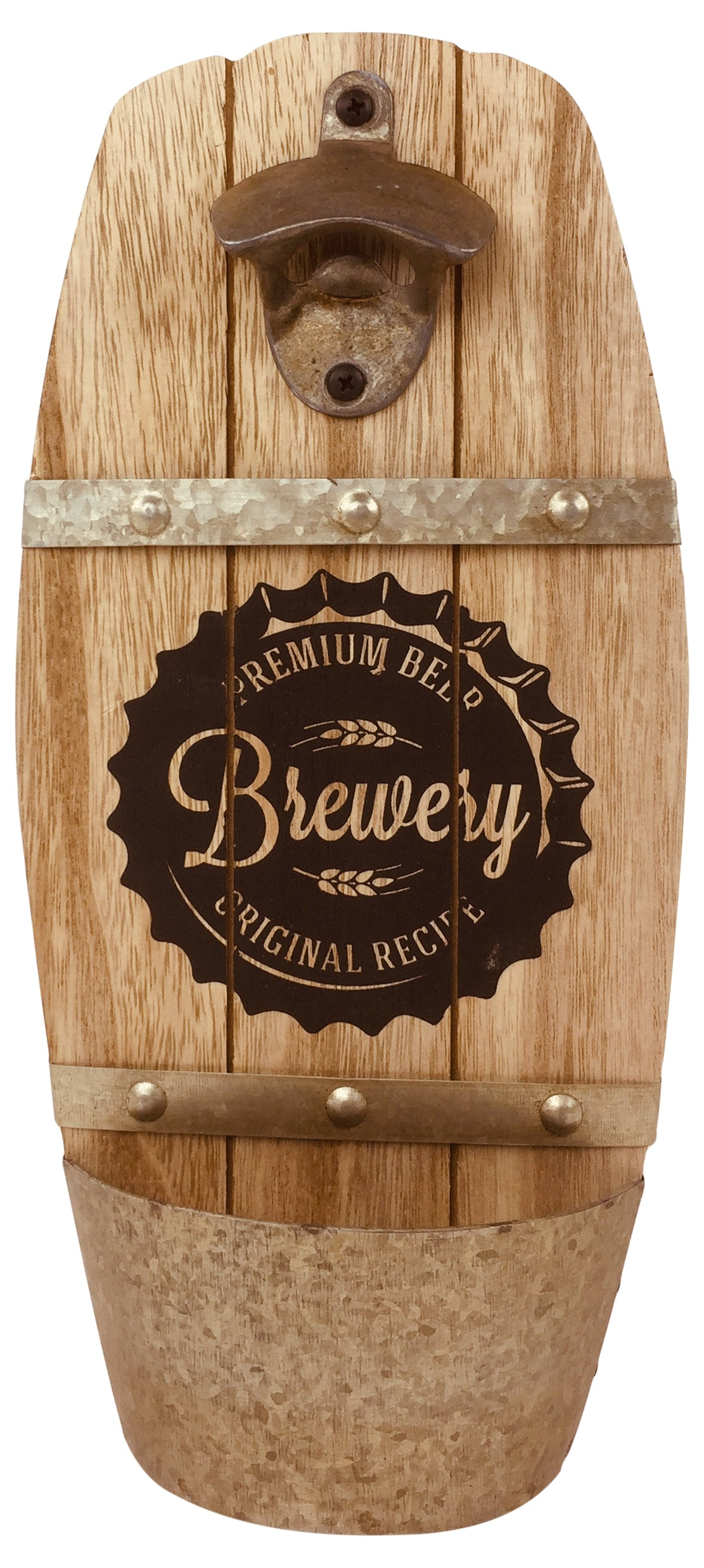 Wall Hanging Brewery Barrel Bottle Opener, Barware by Gifts24-7