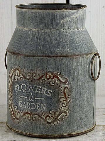 Grey Vintage Zinc Flowers and Garden Milk Churn