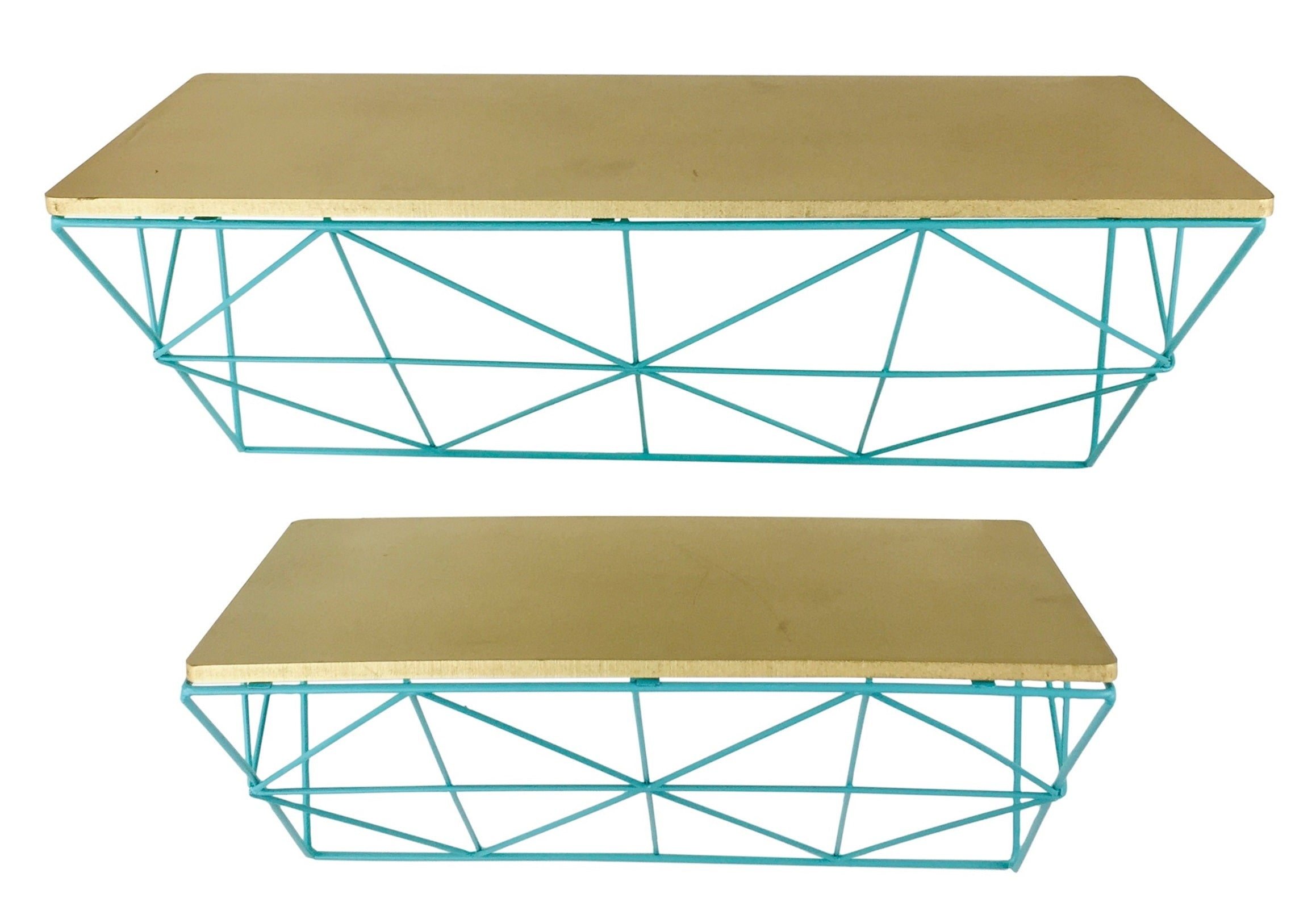 Teal & Copper Wire Shelve, Furniture by Low Cost Gifts