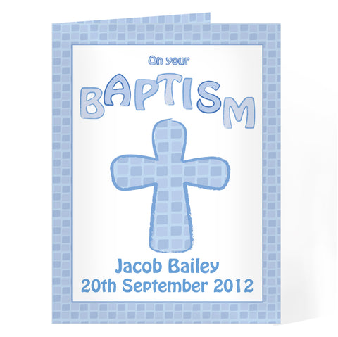 Personalised Baptism Card Blue