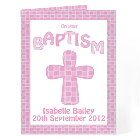 Buy Personalised Baptism Card Pink