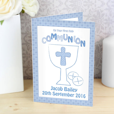 Buy Personalised First Holy Communion Card Blue