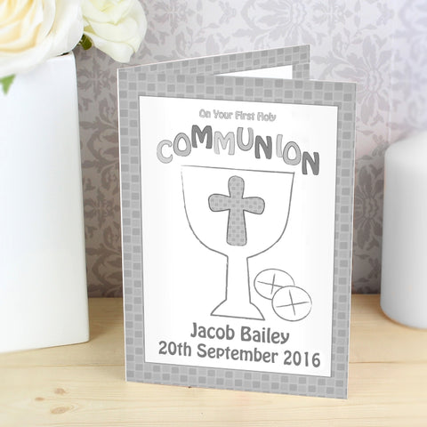 Buy Personalised First Holy Communion Card Grey