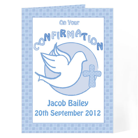 Buy Personalised Confirmation Card-Blue