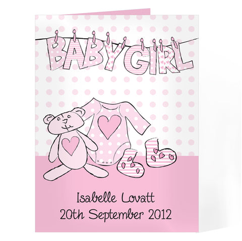Personalised Baby Girl Letter W Line Card