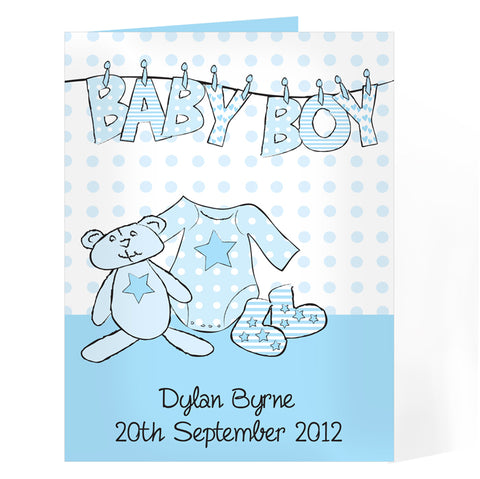 Buy Personalised Baby Boy Washing Line Card