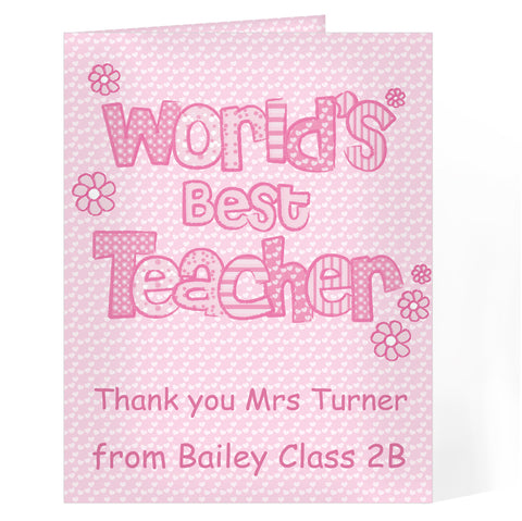Personalised Pink World's Best Teacher Card