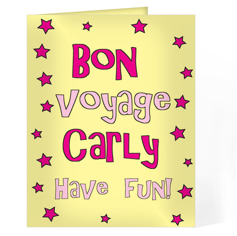 Buy Personalised Bon Voyage Pink Star Card