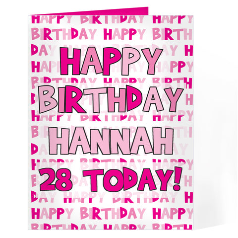 Buy Personalised Happy Birthday Pink Text Card