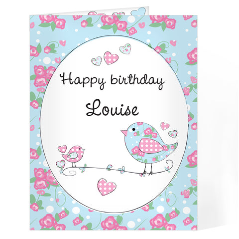 Buy Personalised Floral Bird Card