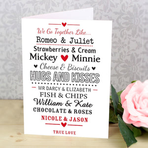 Buy Personalised We Go TogetHer Like.... Card