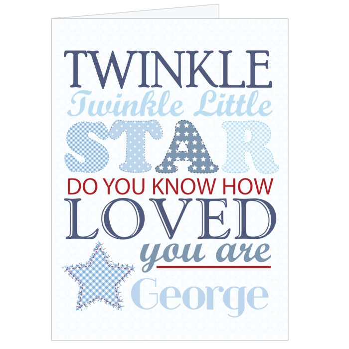 Personalised Twinkle Boys Card, Greeting & Note Cards by Low Cost Gifts