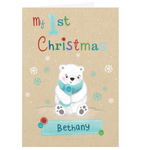Buy Personalised Polar Bear My 1st Christmas Card