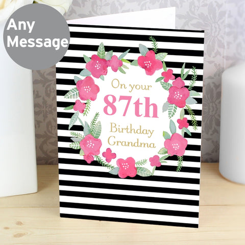 Personalised Floral Stripe Card