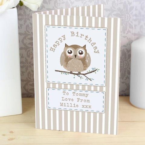 Buy Personalised Woodland Owl Card