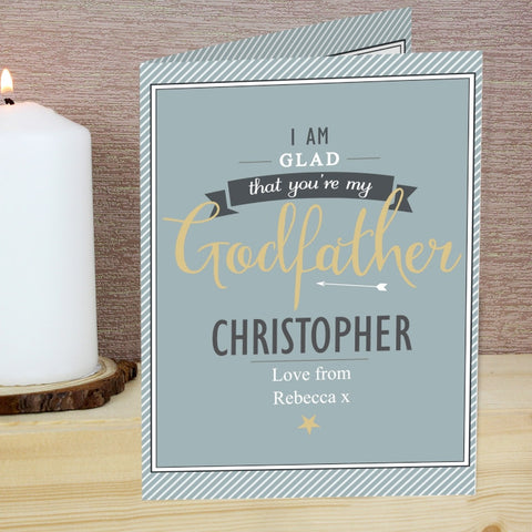 Personalised I Am Glad... Godfather Card - Shane Todd Gifts UK