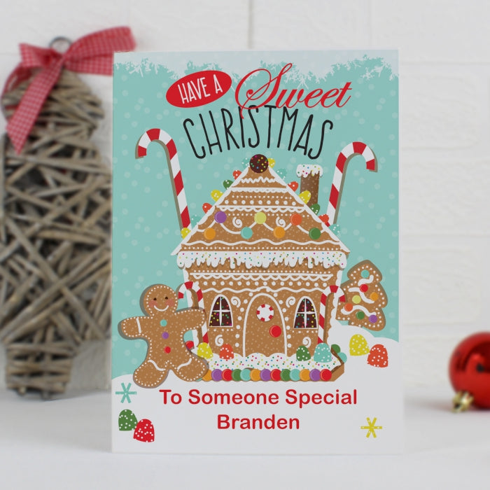Buy Personalised Gingerbread House Card