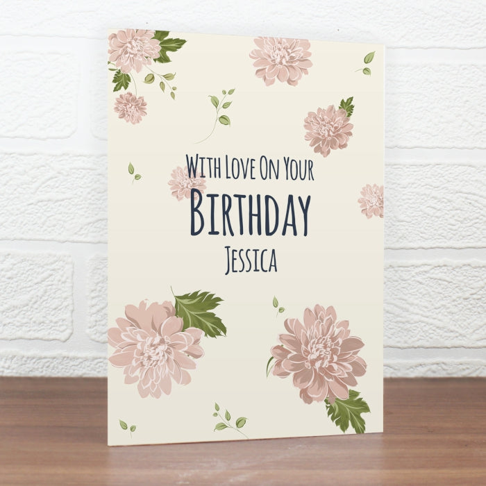 Buy Personalised Rose Gold Floral Card
