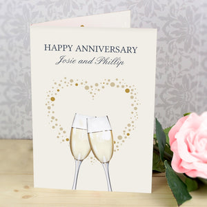 Buy Personalised Gold Champagne Flutes Card