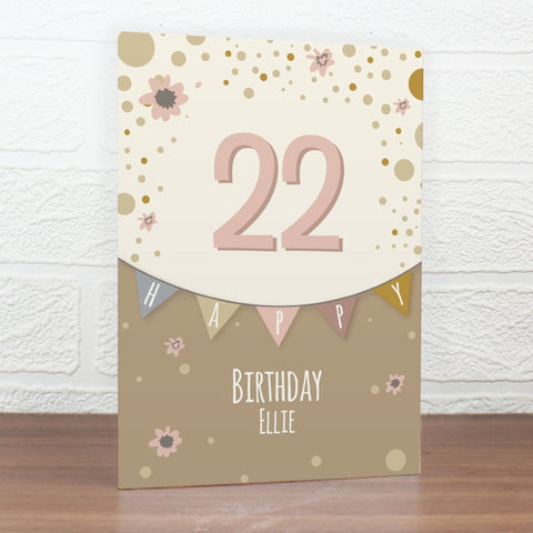 Buy Personalised Rose Gold Bunting Card