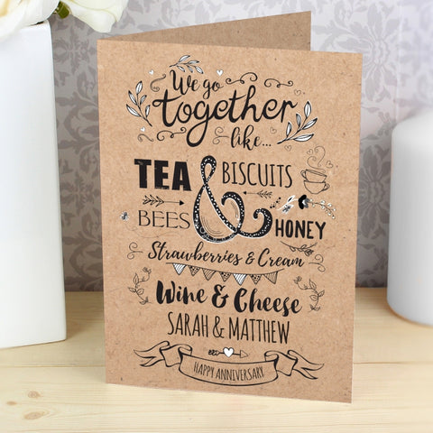 Personalised We Go Together Like... Card | ShaneToddGifts.co.uk