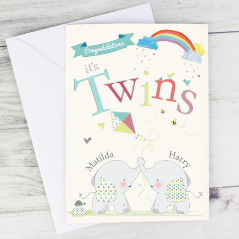 Buy Personalised Hessian Elephant Twins Card