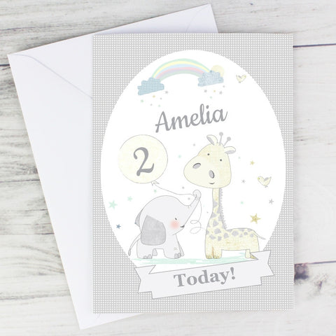 Personalised Hessian Giraffe & Elephant Card - Shane Todd Gifts UK