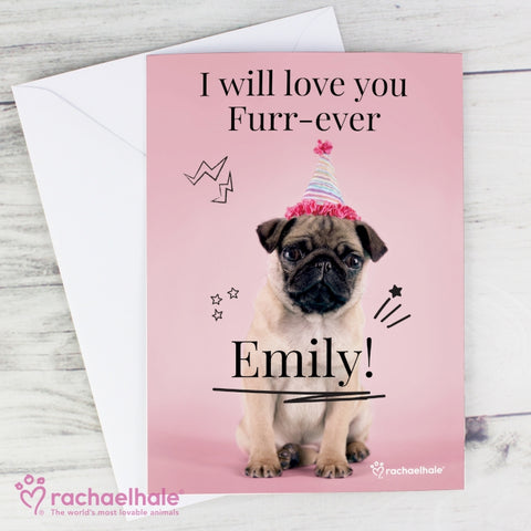 Personalised Rachael Hale Doodle Pug Card | ShaneToddGifts.co.uk