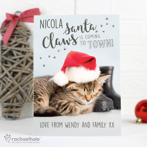 Personalised Rachael Hale Santa Claws Christmas Cat Card | ShaneToddGifts.co.uk