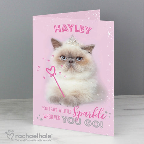 Personalised Rachael Hale Sparkle Cat Card | ShaneToddGifts.co.uk