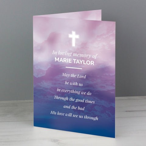 Personalised In Loving Memory Cross Card
