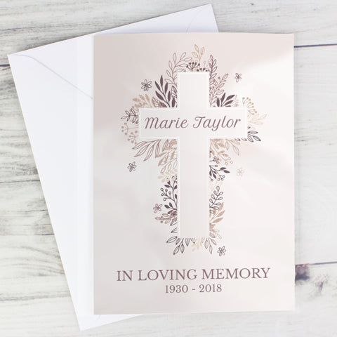Personalised Floral Cross Card