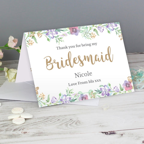 Buy Personalised Floral Watercolour Bridesmaid Wedding Card