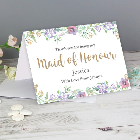 Buy Personalised Floral Watercolour Maid of Honour Wedding Card