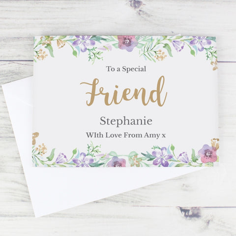 Buy Personalised Gold Floral Watercolour Card