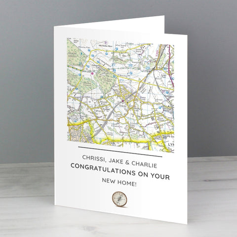 Personalised Present Day Map Compass Card