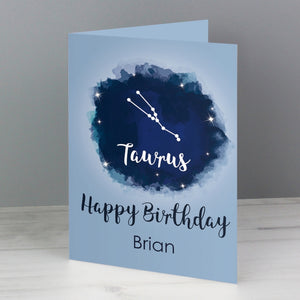 Personalised Taurus Zodiac Star Sign Card