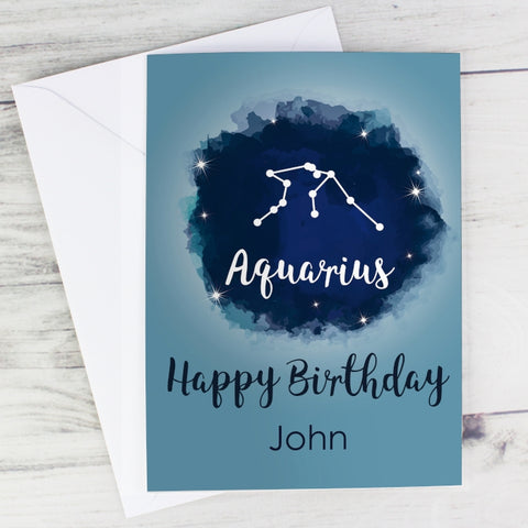 Buy Personalised Aquarius Zodiac Star Sign Card
